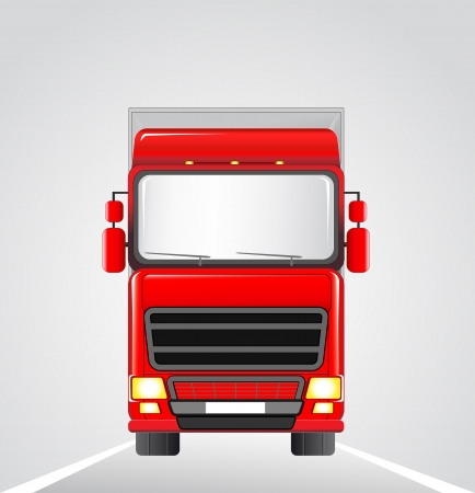 transport logo: big red delivery truck on the road background