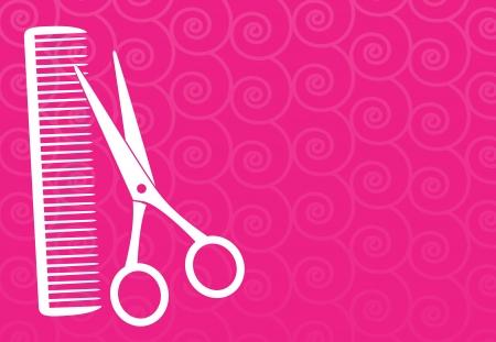 peigne et ciseaux: fond rose salon de coiffure avec des ciseaux et peigne silhouette Illustration