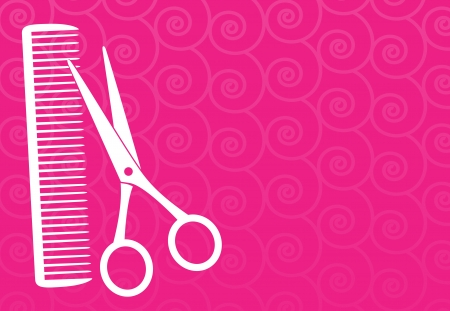 pink barbershop background with scissors and comb silhouette Vector