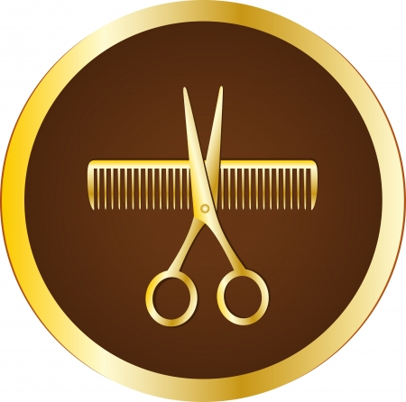 peine: signo oscuro marrón peluquero con las tijeras y el peine