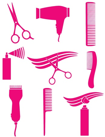 set of pnk hairdresser tools silhouette Vector