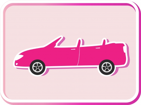 cabrio: sticker with button and pink cabriolet image