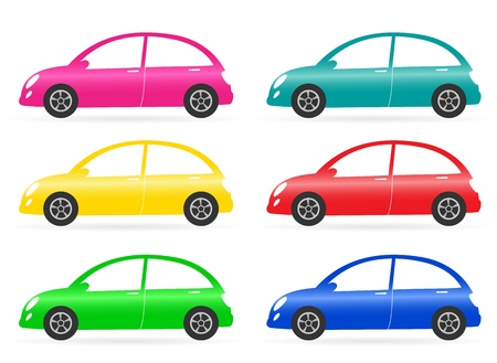 set of colorful isolated retro car on white background Stock Vector - 16702240