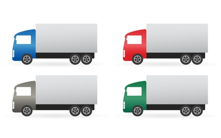 set of isolated colorful truck on white background Vector