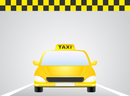 taxi car on the road with sunrise on the sky Vector