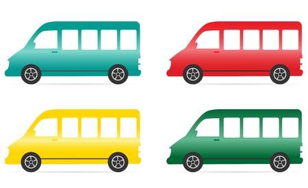 mini bus: set of isolated colorful minibus on white background