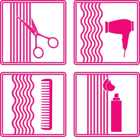 hairstyling:  set of hairstyling tools icon on white background in frame