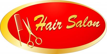 golden signboard for barbershop with scissors and comb Stock Vector - 16824337