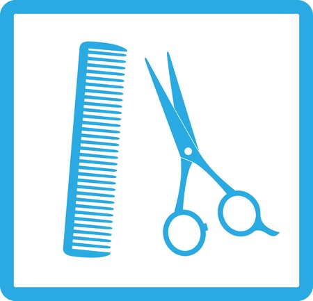 blue sign of barbershop with scissors and comb