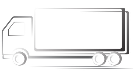 monochrome transport icon with truck on white background Vector