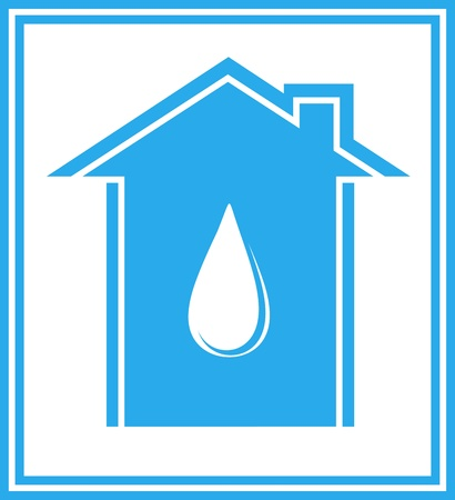 aqueduct:  blue icon with house and water drop in frame Illustration