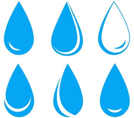 Satz blaue Wassertropfen auf weißem Hintergrund