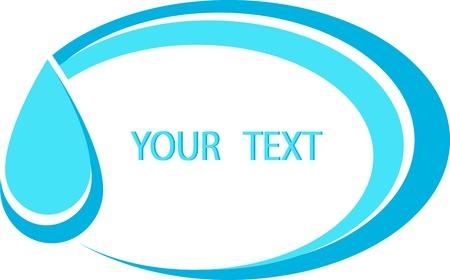 klempner: Wasser-Symbol mit blauer Tropfen im Rahmen mit Wellenbild und Platz f�r Text Illustration