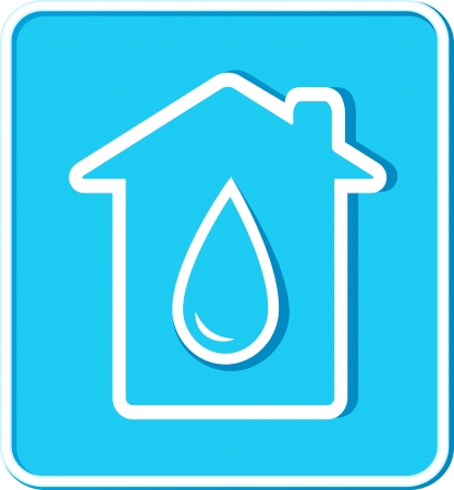 blue sticker with big water drop and house silhouette Vector