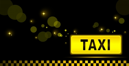 sign taxi with night city background and light beam   Vector