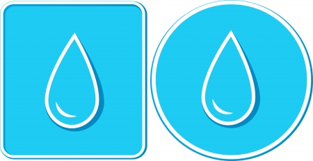 set of two stickers with blue water drop silhouette in frame Vector
