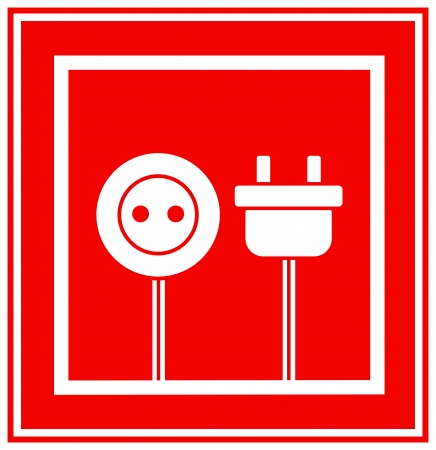 red technical sign of electricity in frame Vector