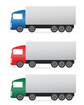 set of isolated colorful heavy truck on white background Stock Vector - 17039323