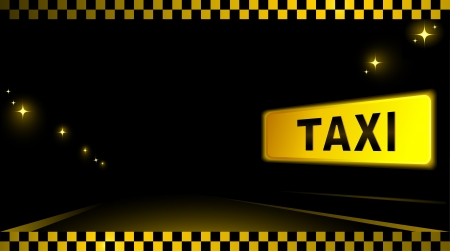 taxi background with advertising, road and many city lights