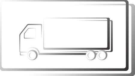 moving truck icon in frame on white background Vector