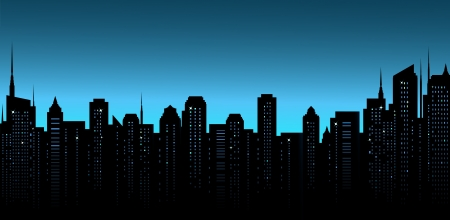 dark night city background with business office and many skyscrapers Vector