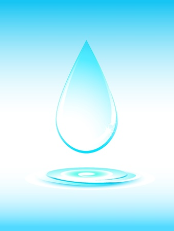 big falling pure water drop silhouette on light blue background Vector
