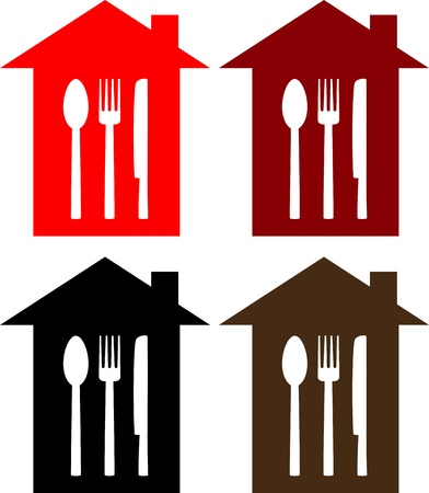 set of colorful restaurant sign with house, spoon, fork and knife silhouette Vector