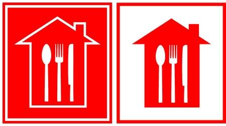 set of two red restaurant icon with house silhouette and utensil Vector