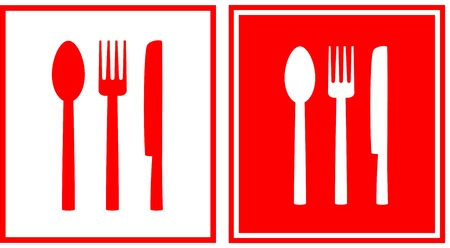 fork in the road:   set of two red restaurant sign with spoon, fork and knife