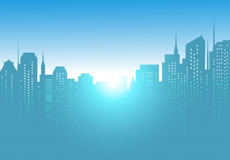 modern city background with morning sunrise and blue sky Stock Vector - 17399322