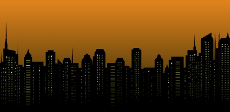night city landscape and many tall skyscrapers on the street Vector