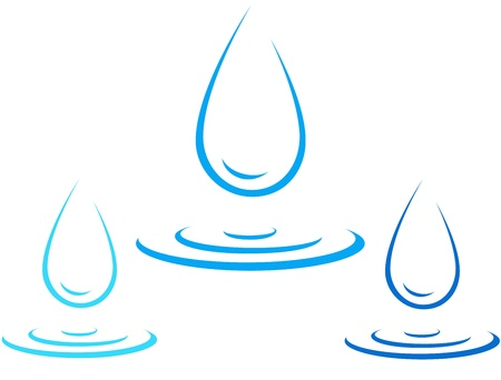 set of colorful water drop icon with splash silhouette Vector