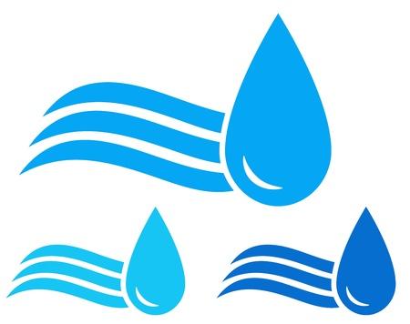 sanificazione: insieme variopinto delle icone con onda blu e gocce d'acqua immagini Vettoriali