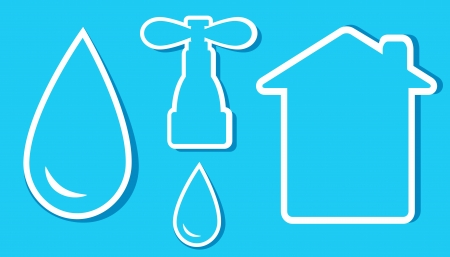 set of water objects on blue stickers with drop, house and tap Stock Vector - 17399302