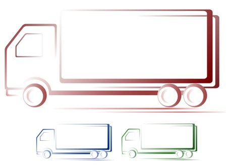 mail truck:  transport set of shipping colorful moving truck images Illustration