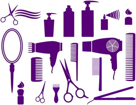 hairstyling: juego de peluquer�a objetos aislados sobre fondo blanco Vectores