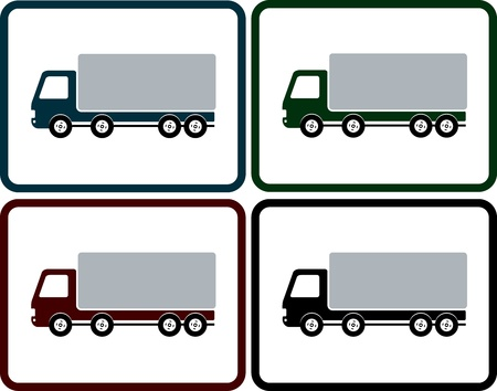 semitrailer: set of colorful delivery truck icon in frame on button