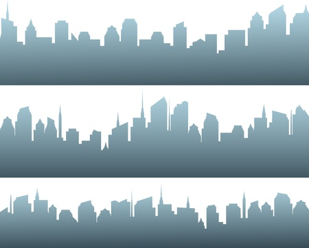set of isolated modern blue city silhouette with sunrise Stock Vector - 17599076