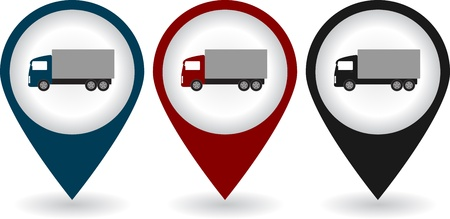 pin point:  set of colorful pins with shipping truck silhouette with shadow