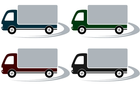 set of four shipping trucks on the road with decorative element Vector