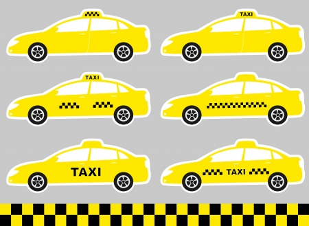 set of cartoon cabs with taxi sign on light background Vector