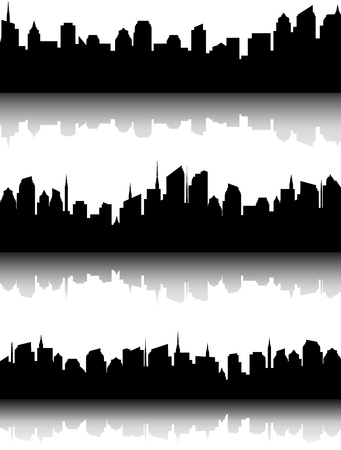 decorative set of black business city skyline and reflection Stock Vector - 17599081