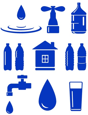 water set of icon with house, faucet, drop, bottle on white background Vector