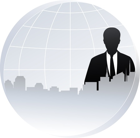 american banker:  industrial background with planet, city and black businessman silhouette Illustration