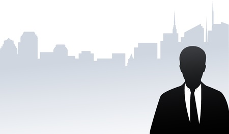 young businessman silhouette on modern city background in window Stock Vector - 17599075
