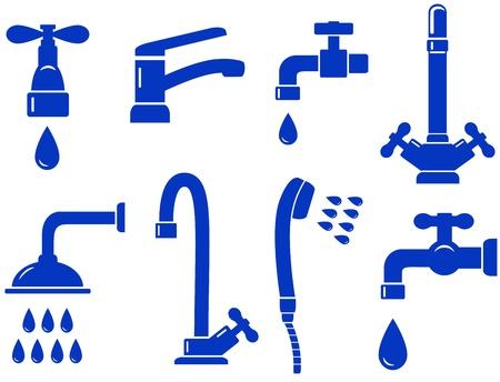 the faucet: agua fijado con el icono de llave aislado sobre fondo blanco