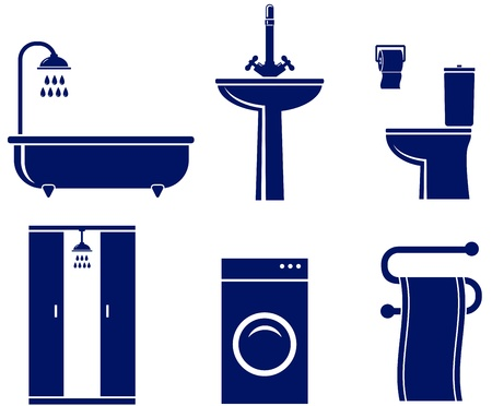 washstand:  set of isolated bath objects on white background Illustration