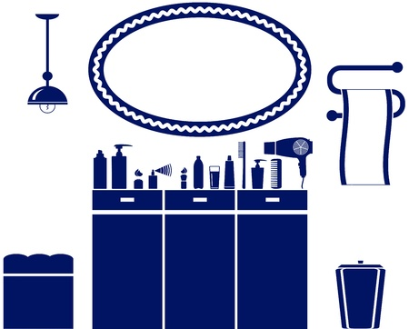 inter set of bathroom icon with cosmetic objects Stock Vector - 17884175