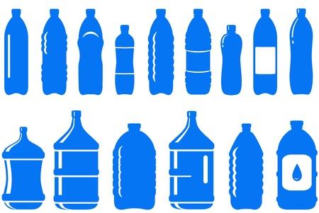 conjunto de icono de la botella de agua aislado sobre fondo blanco