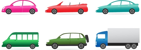 transport set of isolated colorful car with cabriolet, minibus, truck, crossover Vector